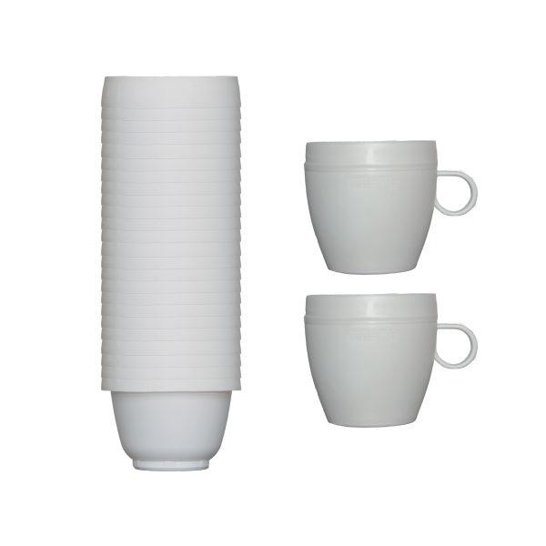 بررسی و خرید فنجان یکبار مصرف آملون مدل AML-FEN-2+24 بسته 24 عددی به همراه 2 پایه فنجان