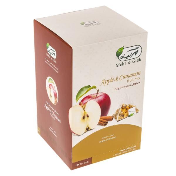 بررسی و خرید فوری دمنوش میوه ای سیب و دارچین مهرگیاه بسته 18 عددی