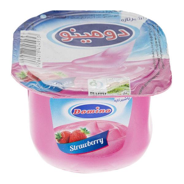 خرید شگفت انگیز دسر توت فرنگی دومینو مقدار 100 گرم